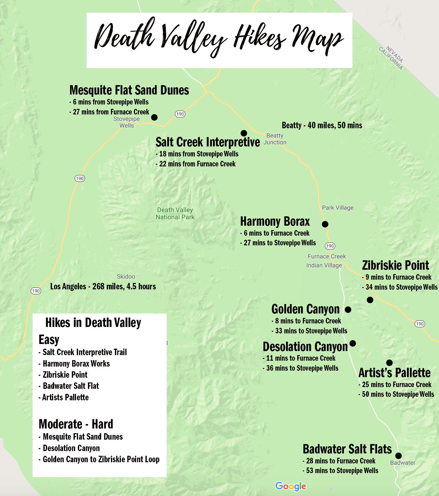 Death Valley Hiking Map
