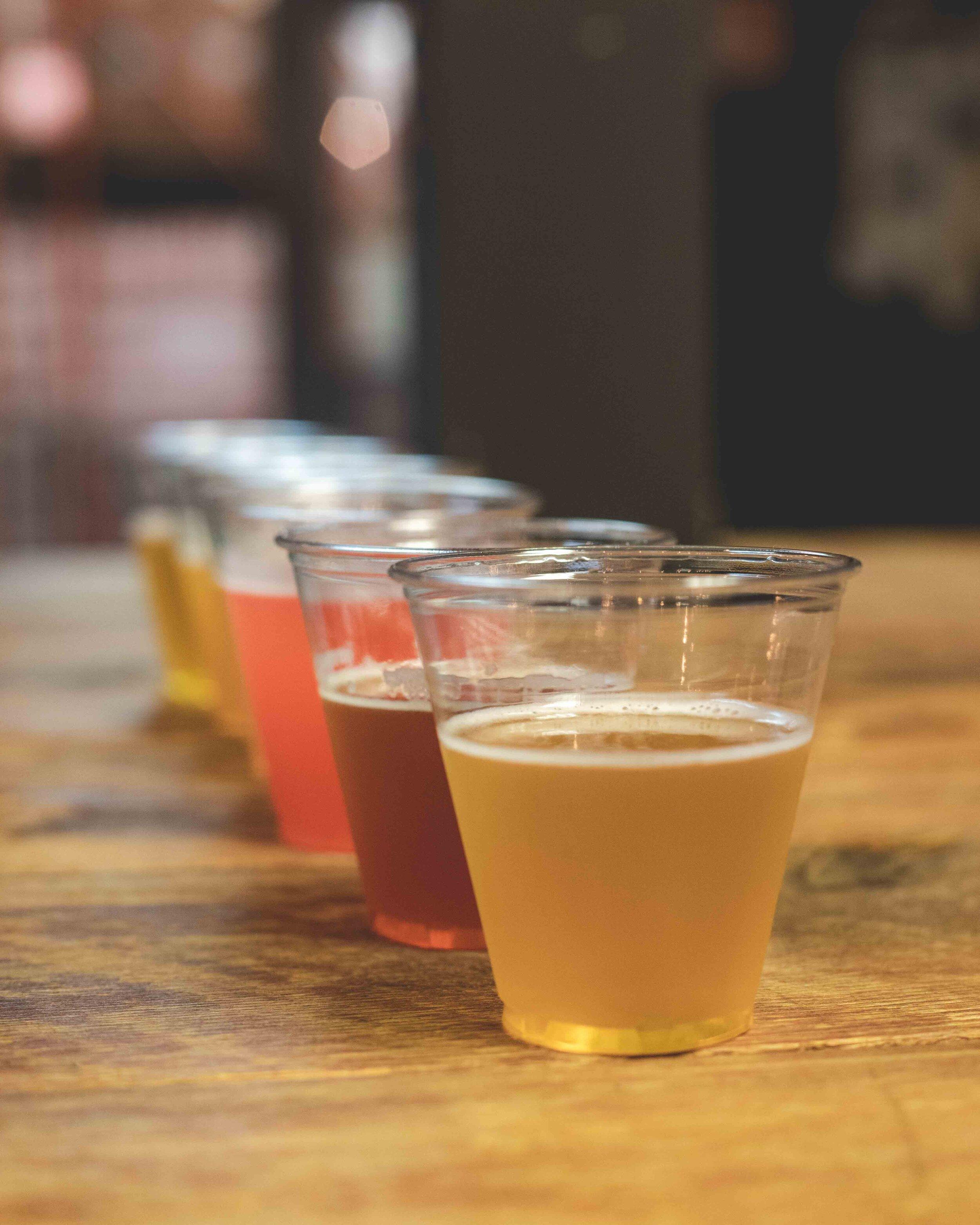 Beer sampling at Farmery Brewery