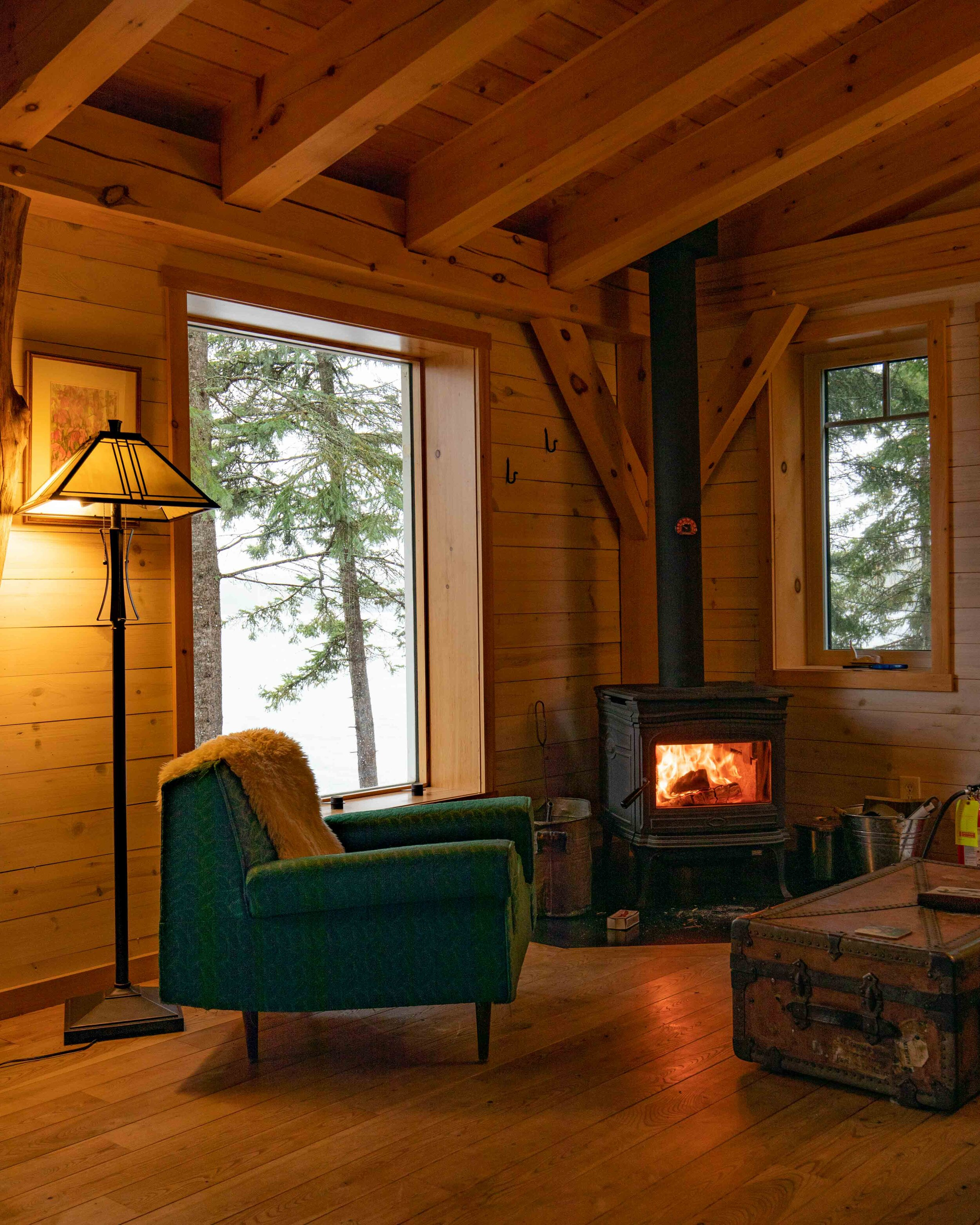 Inside the eco cabins at Falcon Trails Resort