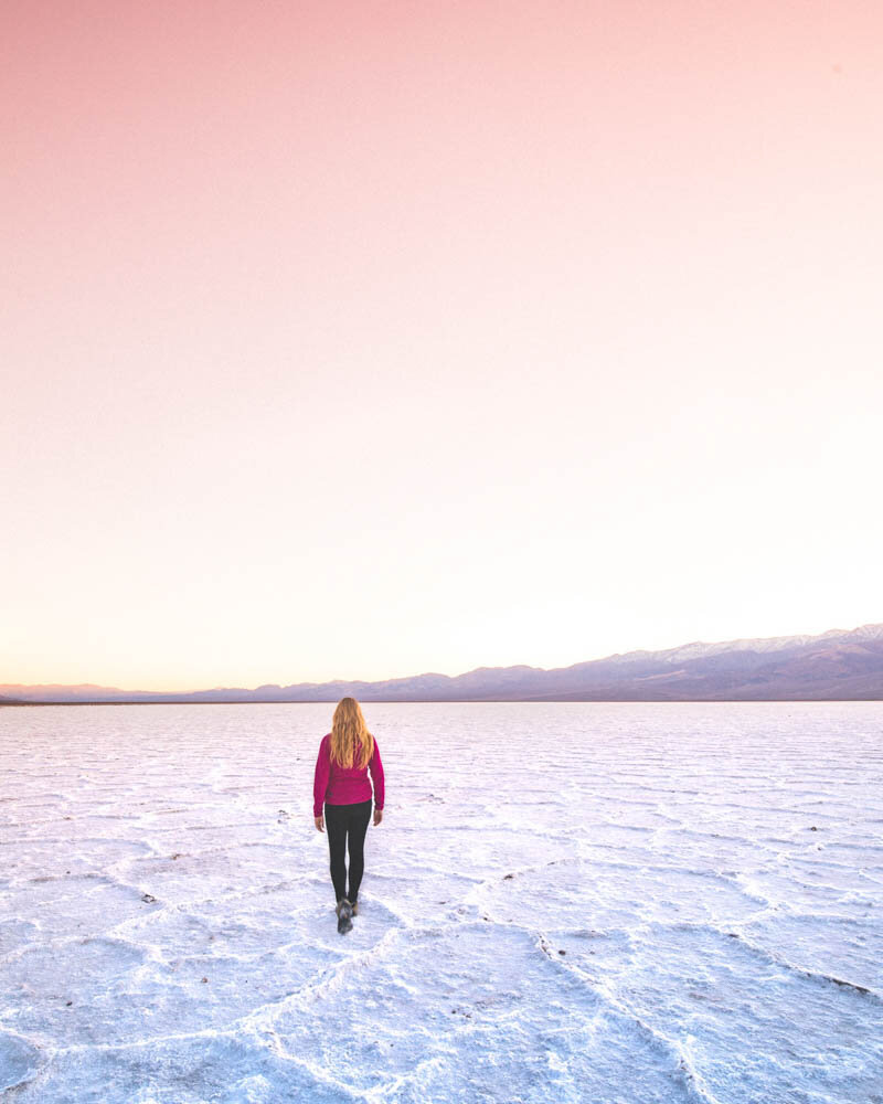 Death Valley hikes: Badwater Salt Flat at sunset