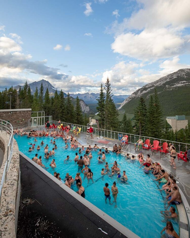 Banff hot springs when it's crowded