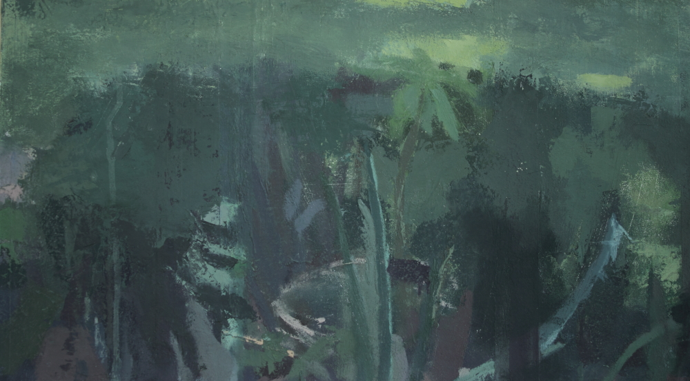 "Green Dusk 8.75""x15.75"" Oil on Canvas mounted to birch wood panel"