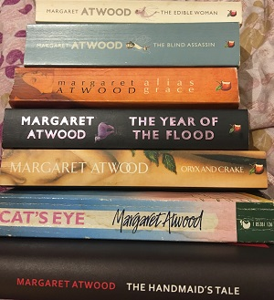 Stack of Margaret Atwood books