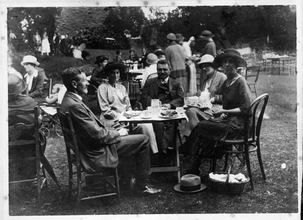 Tea party at Sompting Abbotts - Photo shows Mr George Rutherford, Sompting Abbotts headmaster, sitting on the left. Undated photo from the 1930s.