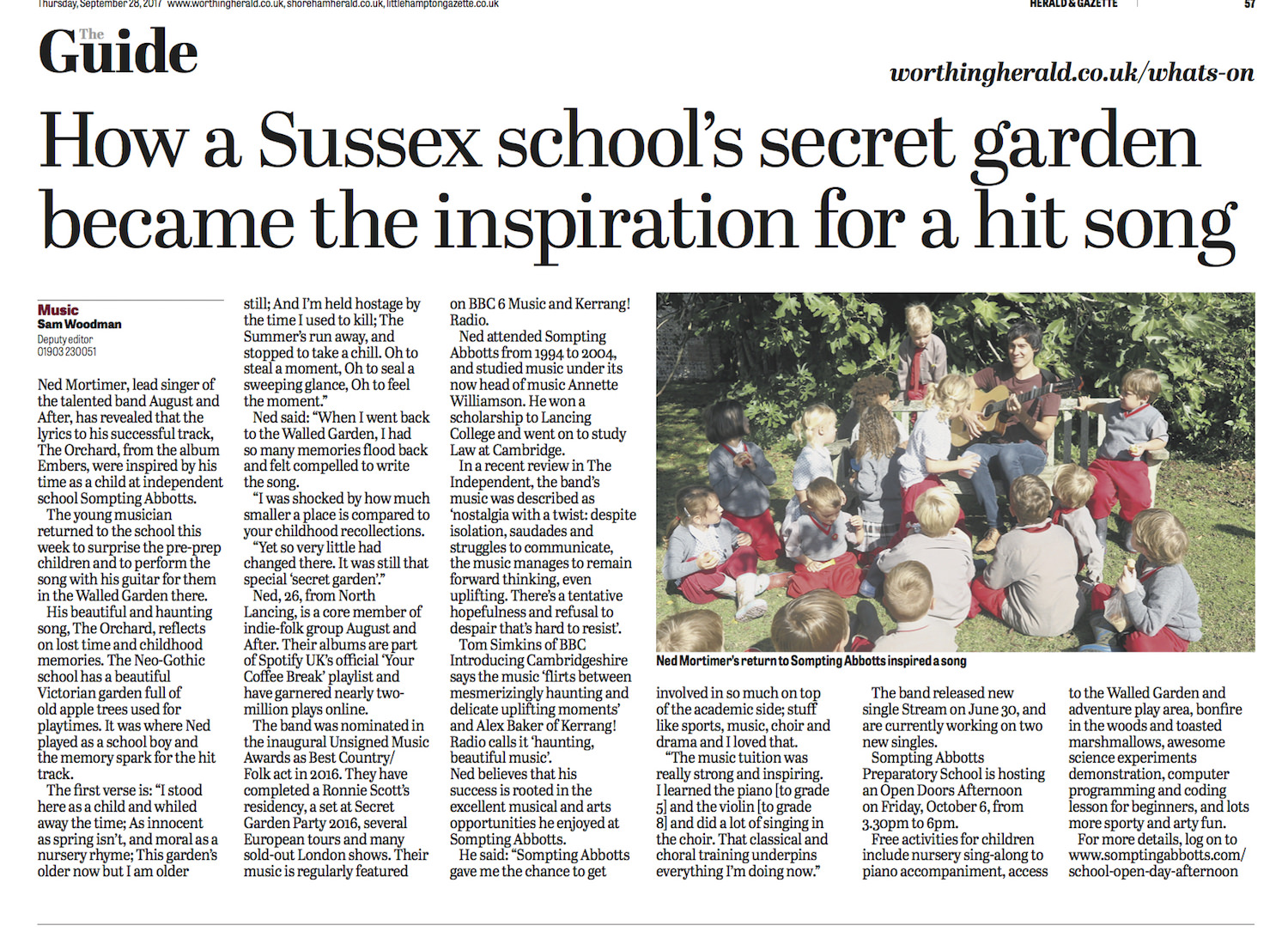 Click on image or link to see the story reported in the  Worthing Herald here