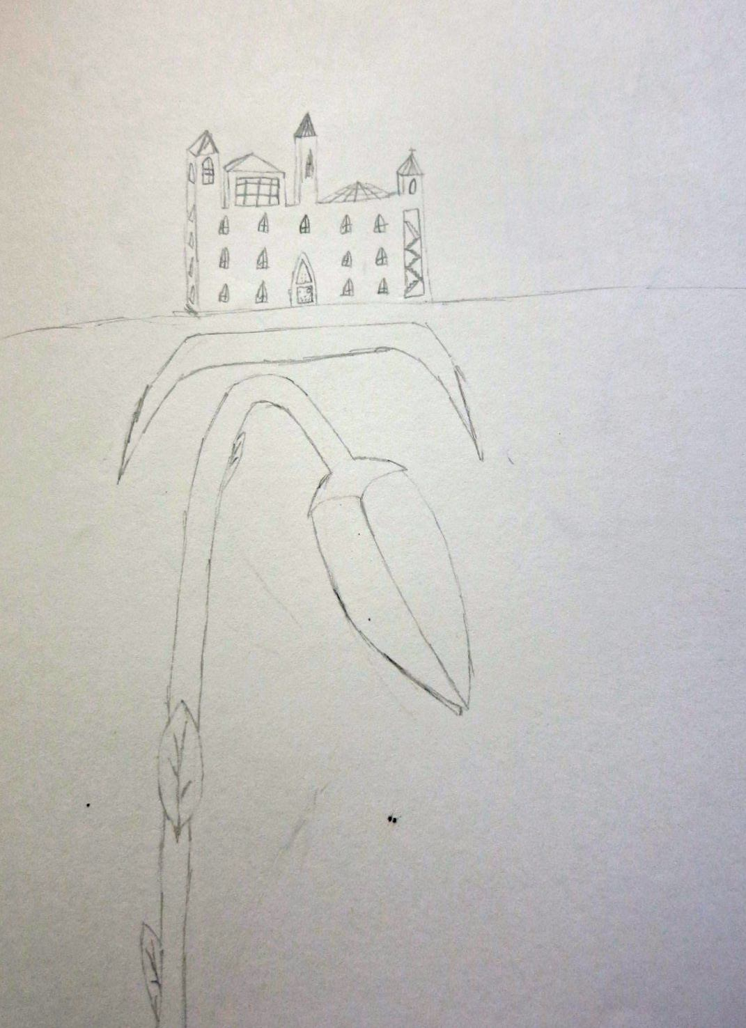 """""""The great grey school is looming above us"""". Illustration by Oliver Knight, Year 8, Sompting Abbotts Preparatory School"""