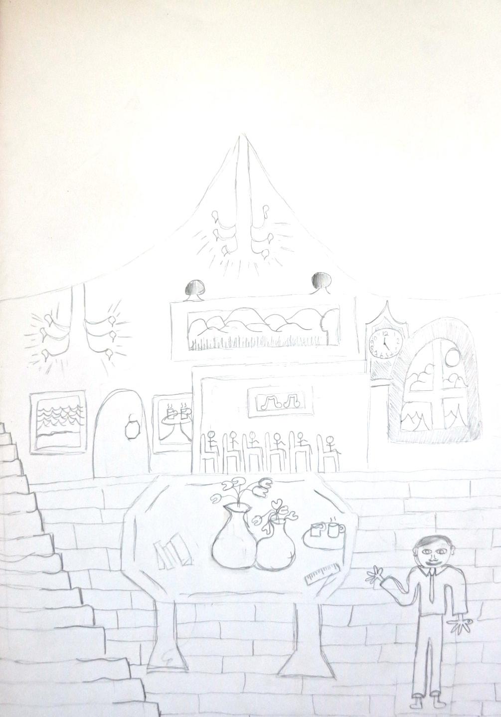 """The chandelier rains down golden light."" Illustration by Chloe M, Year 8, Sompting Abbotts Preparatory School"