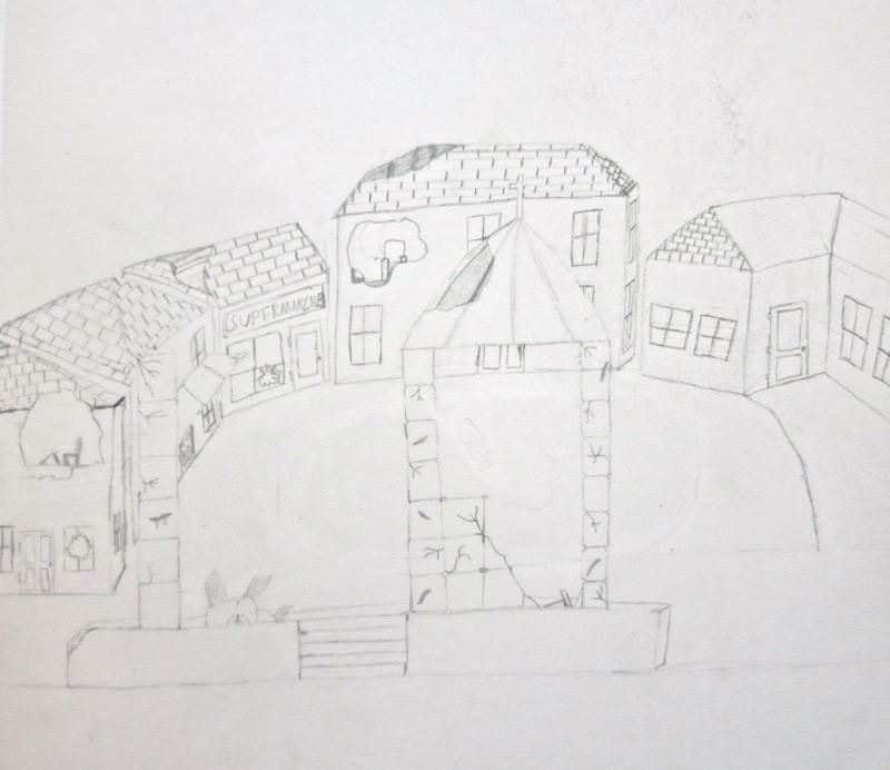 """""""Finally, I come into a French town, bomb-blasted and crumbling."""" Illustration by Oliver K, Year 8, Sompting Abbotts Preparatory School"""