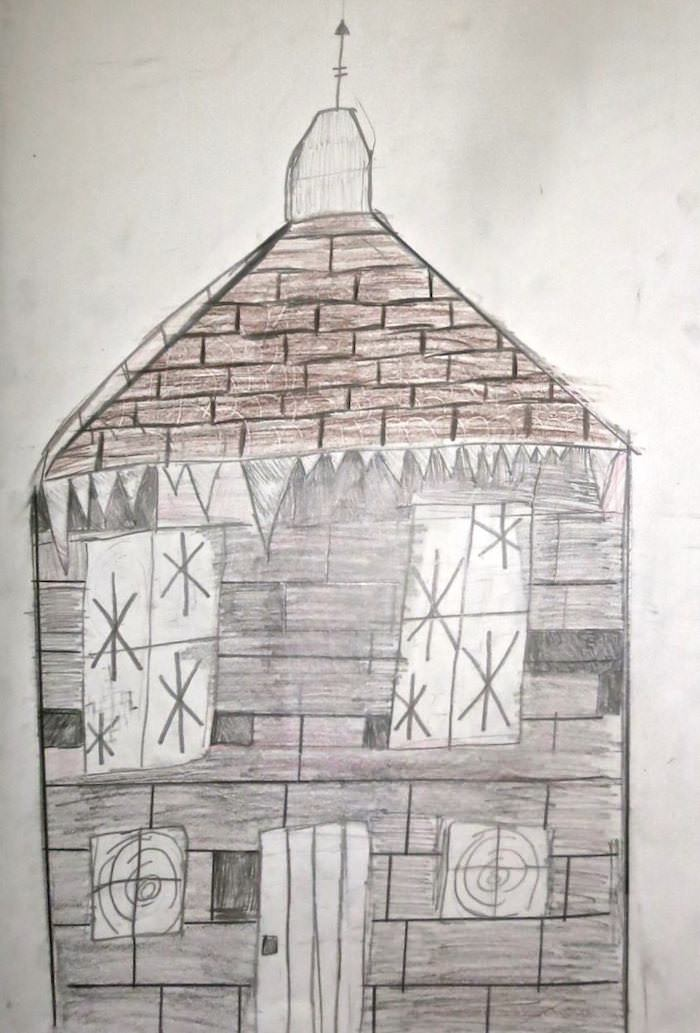 """""""Through the broken windows of the library, snow has blown."""" Illustration by Ethan R, Year 8, Sompting Abbotts Preparatory School"""