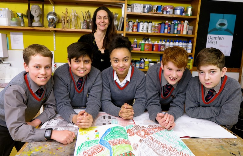 Mrs Tewkesbury, with pupils from Year 8 whose drawings were selected to illustrate a work by best-selling author Alex Preston.  Read more about their project here