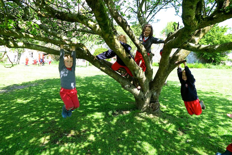 Outdoor play in the Walled Garden and Apple Orchard - We go out for playtime in all weathers. There's a well-equipped play area and children wear their red tracksuits and wellies to protect their uniforms.