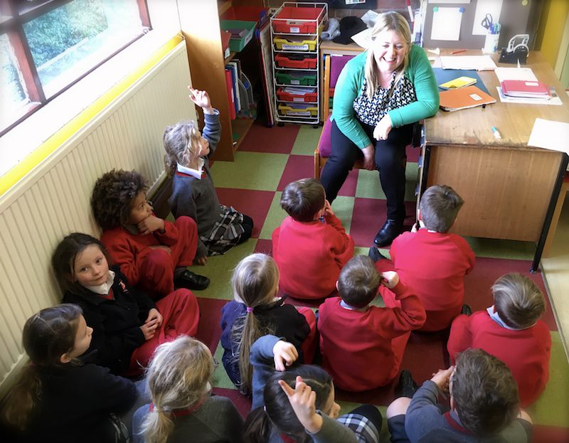 Class discussion in Year 2 class at Sompting Abbotts. The average teacher-child ratio at the school is 1:15