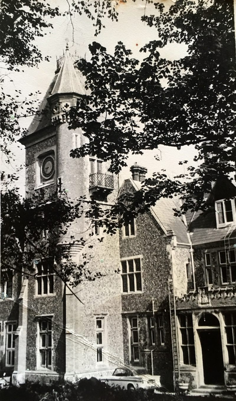 The front of the school in the 1960s with the Sinclairs' Sunbeam Rapier parked outside. To the left of the front door is what passed as a fire escape in those days!