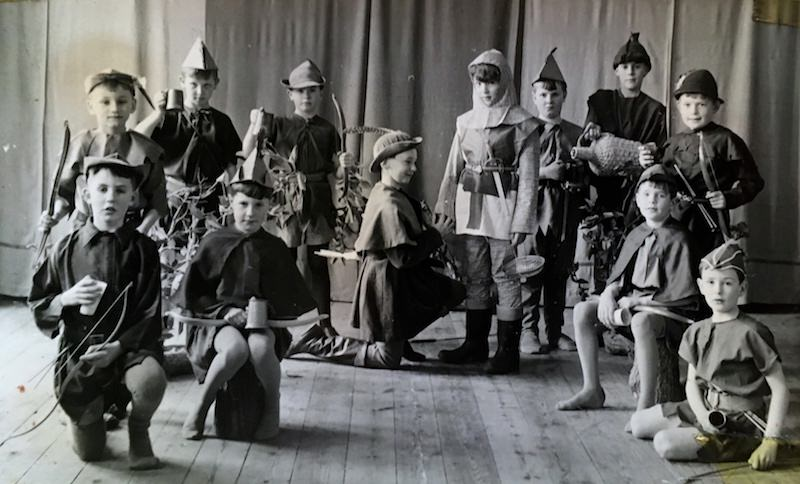 Archive photo of boys in costume for a school play. Was this Robin Hood? Many plays were scripted by Mrs Molly Sinclair.