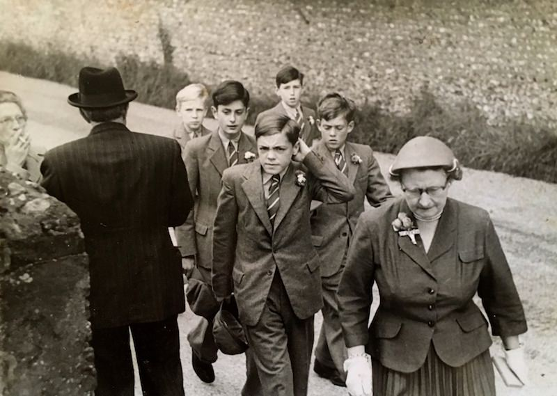 Some of the boys returning from their Sunday outing to the nearby church of St Mary's, Sompting
