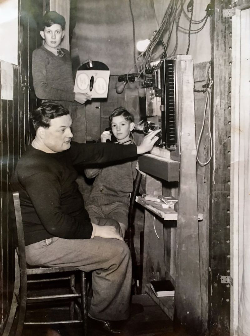 Backstage fun during a school play in the 1960s. The lighting console is operated by French teacher Teddy Izard
