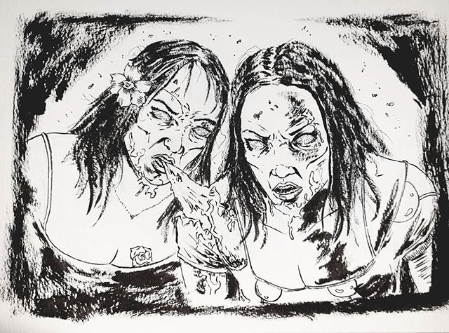Recent surprise birthday commission! Sisters forever and ever.  #doomsdaykingdom #art #illustration #zombies #comics #horror #commission #ink #blackandwhite #mappfamily