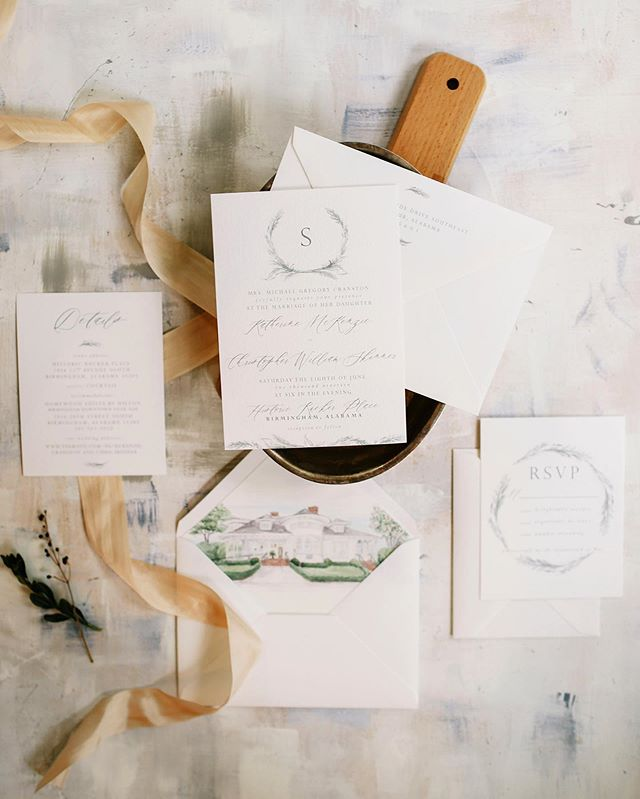 It's almost wedding day for McKenzie and Chris! It was such a JOY to dream with them about their wedding paper... we got to include the softest silk ribbon, deckle edge programs & custom venue watercolors. Needless to say, we like their style 👏🏻 Best wishes to this precious couple & their families this weekend 😘