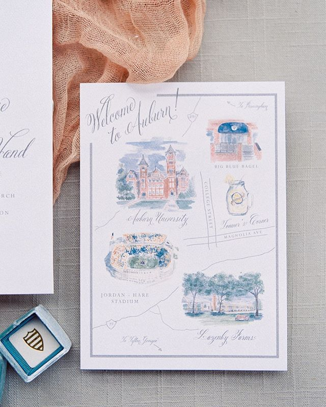 this lil map of Auburn makes me miss college 🧡 think i could get away with framing this details card & using as decor during football season? 🙃 // watercolors by @sarias_creates // photo by @_tdane
