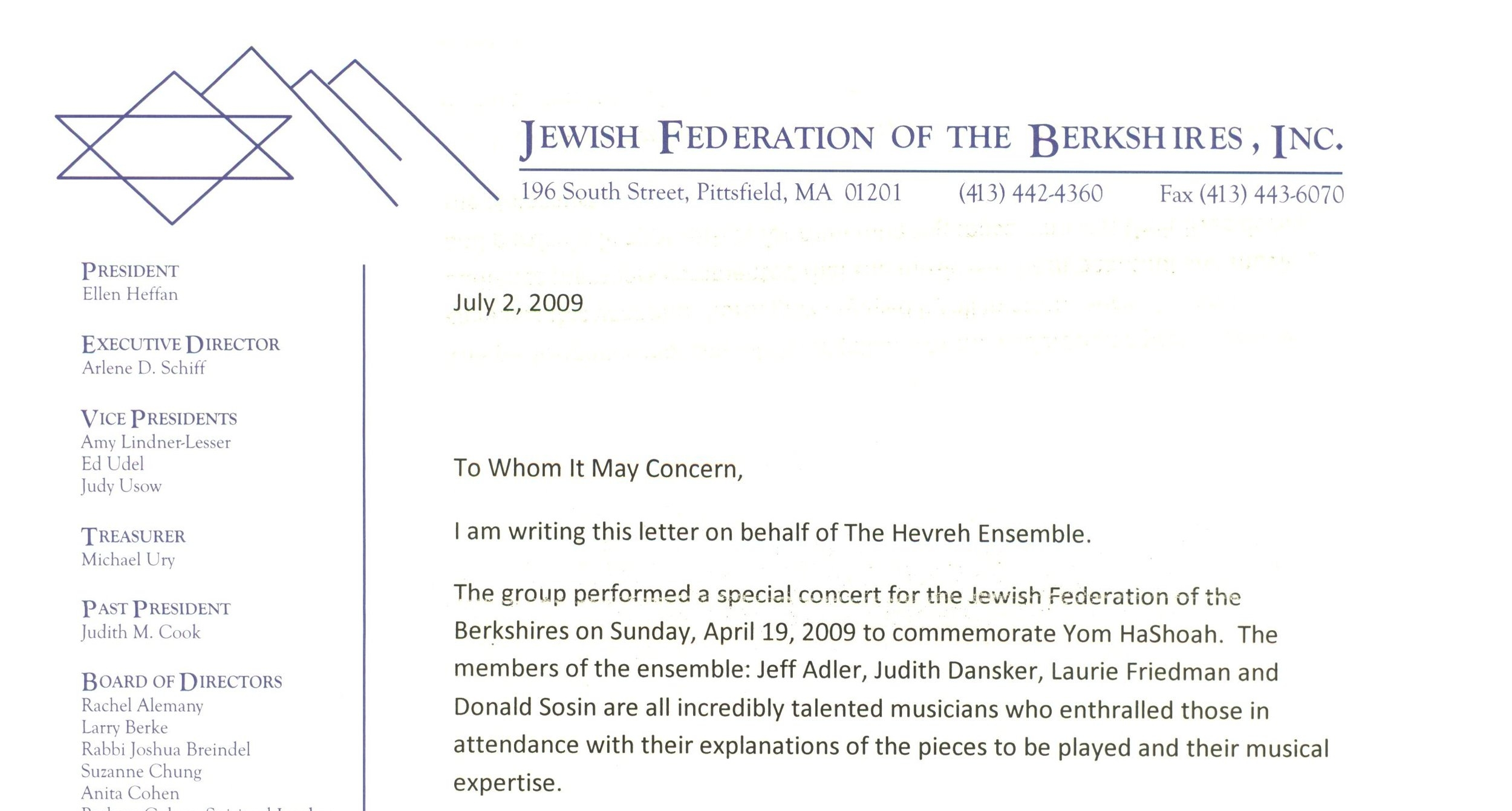 Jewish Federation of the Berkshires - Letter of Support, July 2009