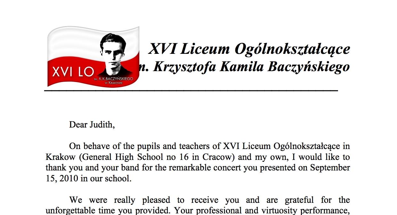 XVI Liceum Ogólnokształcące in Krakow - Letter of Thanks, September 2010