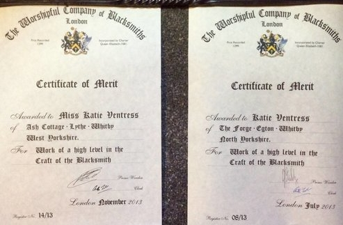 Certificates of Merit-Work of a high level in the Craft of the Blacksmith. - One awarded for the completion of the DFS course at Hereford Agricultural Collage.The Second awarded for the chair entered at