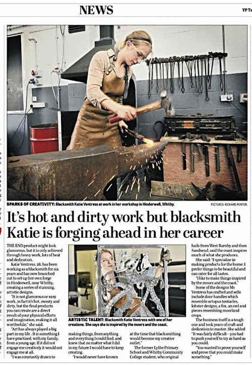 The Yorkshire Post - Katie Ventress Artist Blacksmith featured in The Yorkshire Post.2017