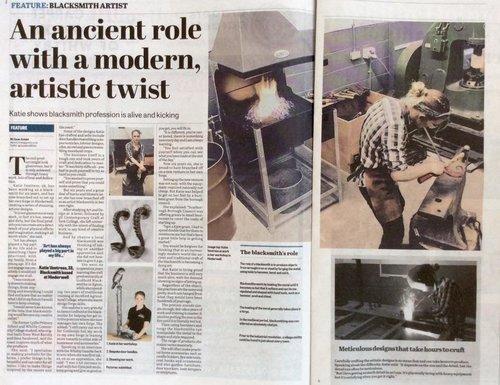 Whitby Gazette - KV Artist Blacksmith featured in the Whitby Gazette.
