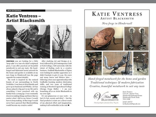 Esk Valley News - Katie Ventress Artist Blacksmith advertised 2017.