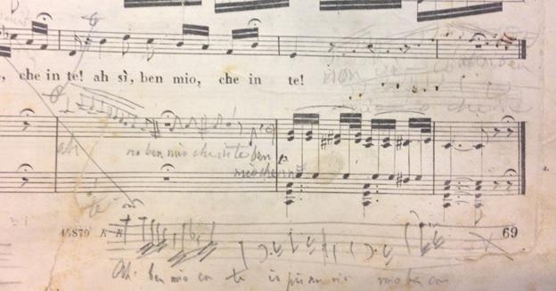 Ornamented page from Donizetti's Dom Sebastien in a 19th-century Italian score