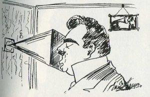 Enrico Caruso - self-caricature, recording studio