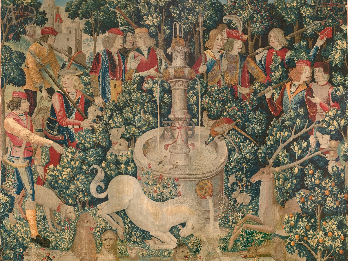 Tapestry 1. The Unicorn Is Found. The Cloisters, Metropolitan Museum, New York.