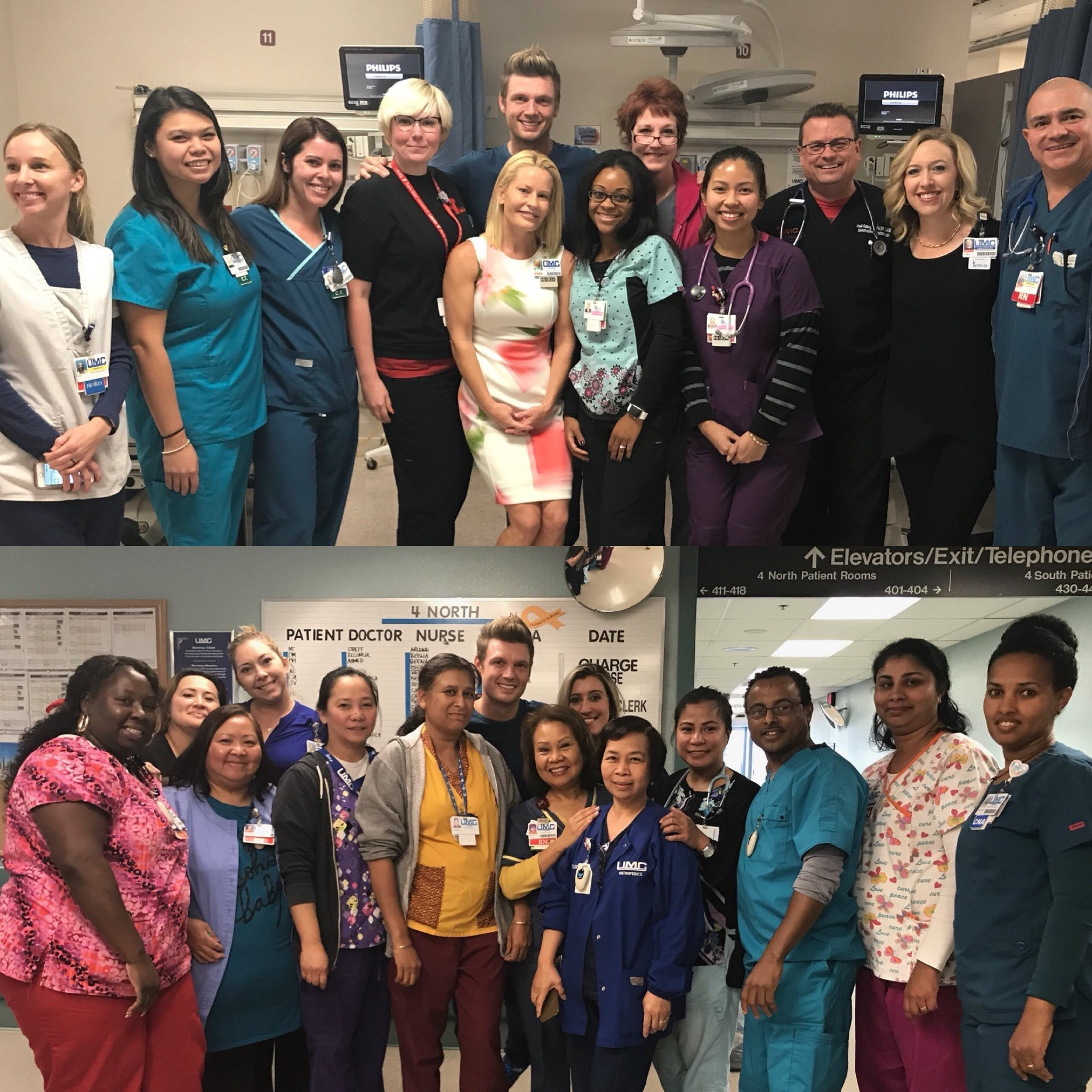 Nick Carter and Hospital staff Source: twitter.com/backstreetboys