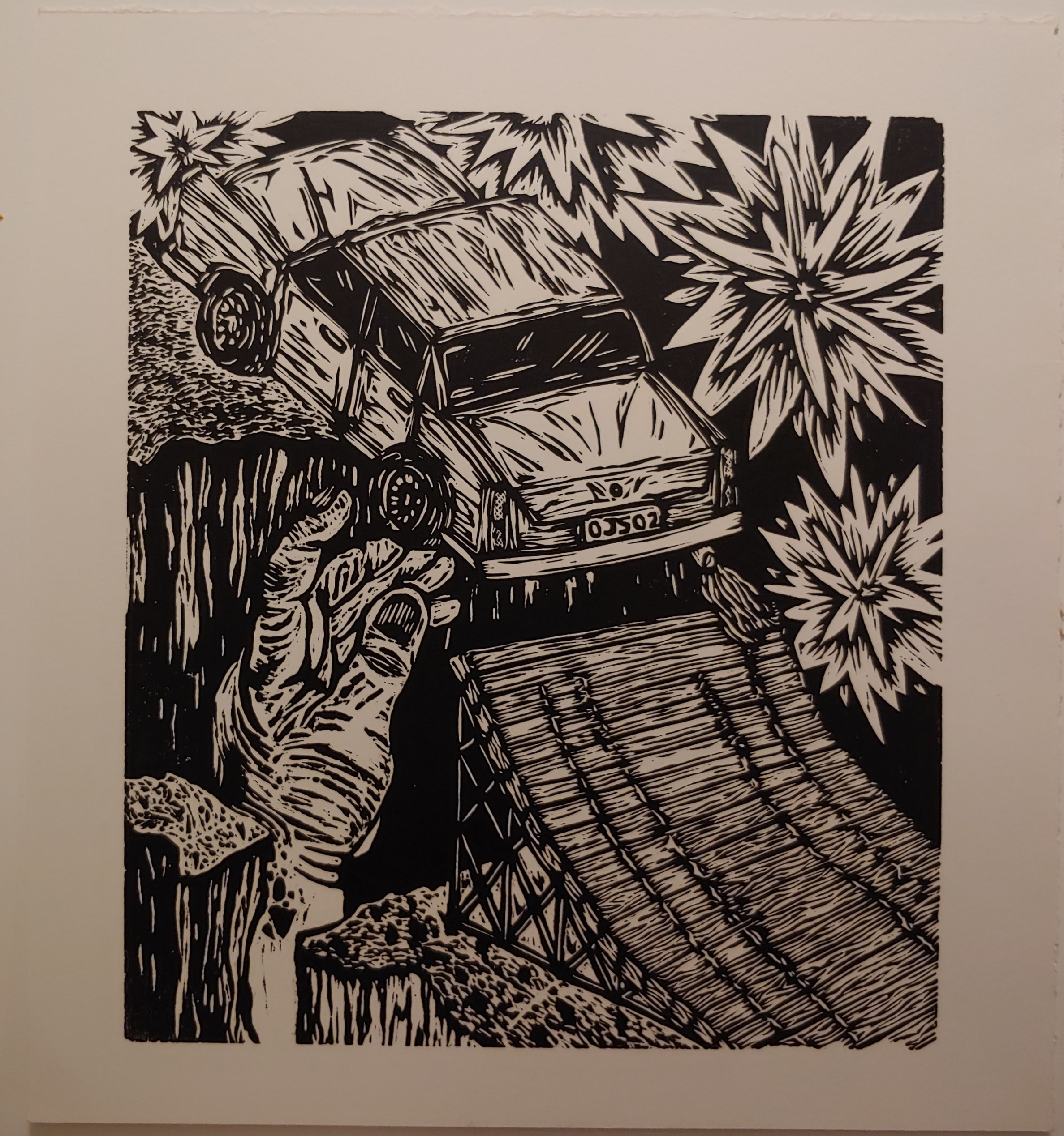 Escaping the Clutches of Those Who Care  Woodcut  16.5 x 15