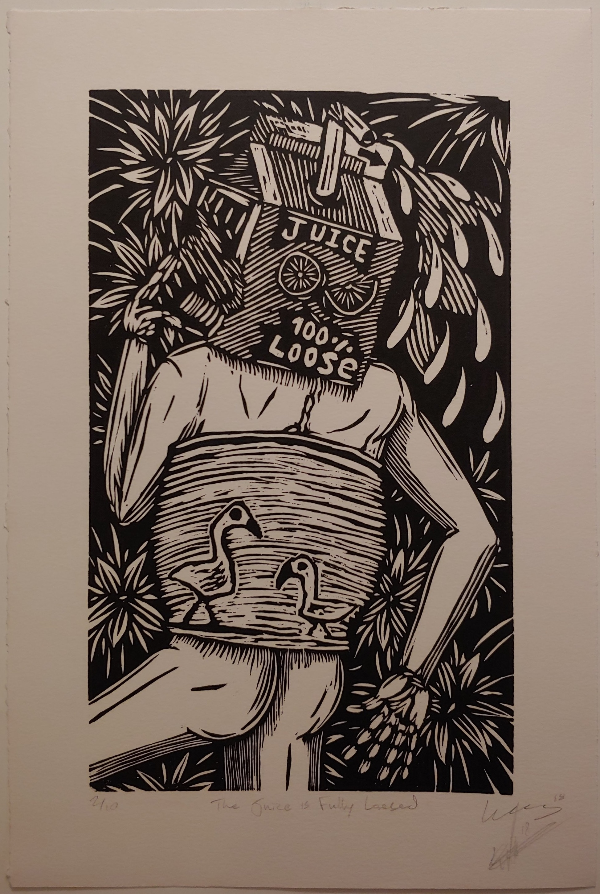 The Juice is Fully Loosed  Woodcut  10.5 x 15.5