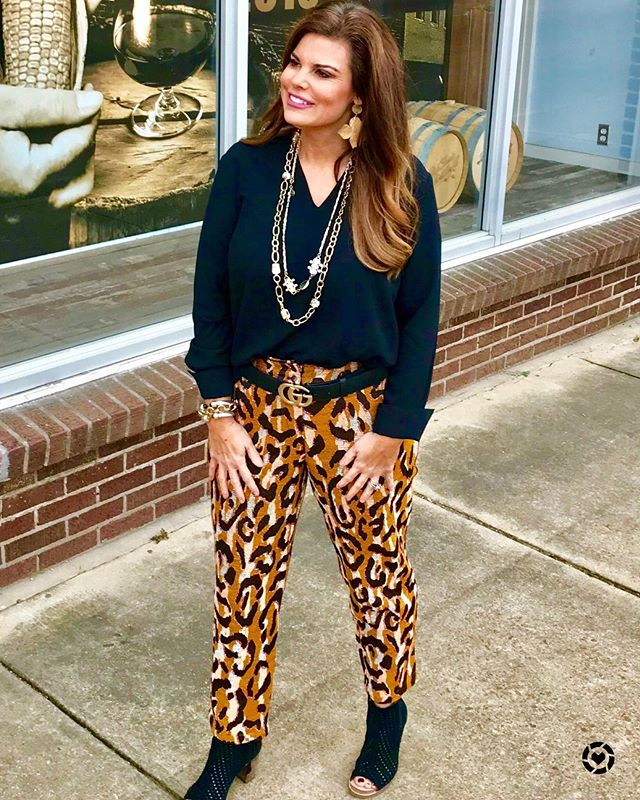 These pants are a party waiting to happen! Last year it was all about the tops but this year it is the pants that are making the statements. Shop this look by Downloading the free LIKEtoKNOW.it app and simply search and follow my Southern Shine 2017 page http://liketk.it/2y2vW #liketkit @liketoknow.it #over40styleblogger #microinfluencers #southershine #southrnshine#leopardpants#falloutfits #mississipi #momstyles #fashionover30 #holidayoutfit #cityoflights #chicover50