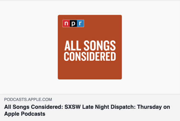 "Robin Hilton about GIRL SKIN's SXSW 2019 performance:  ""   I really, really loved all of the song writing.""   Click to go to the entire podcast:  NPR SXSW Late Night Dispatch: Thursday"