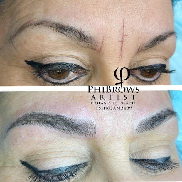 Microblade Eyebrow Feathering before and after