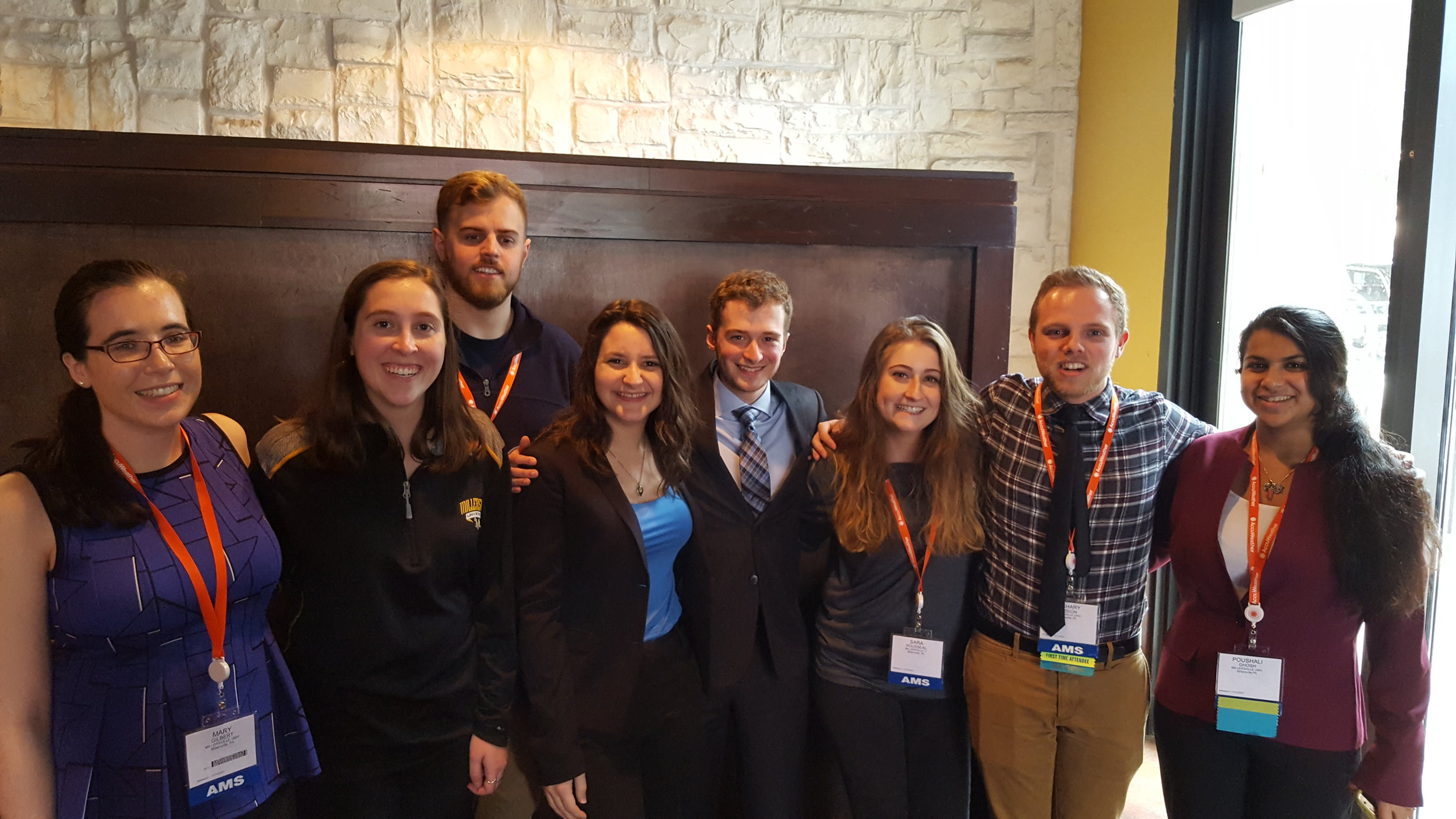 Lyndon State students network with Millersville students at the 2018 AMS Annual Meeting in Austin, TX