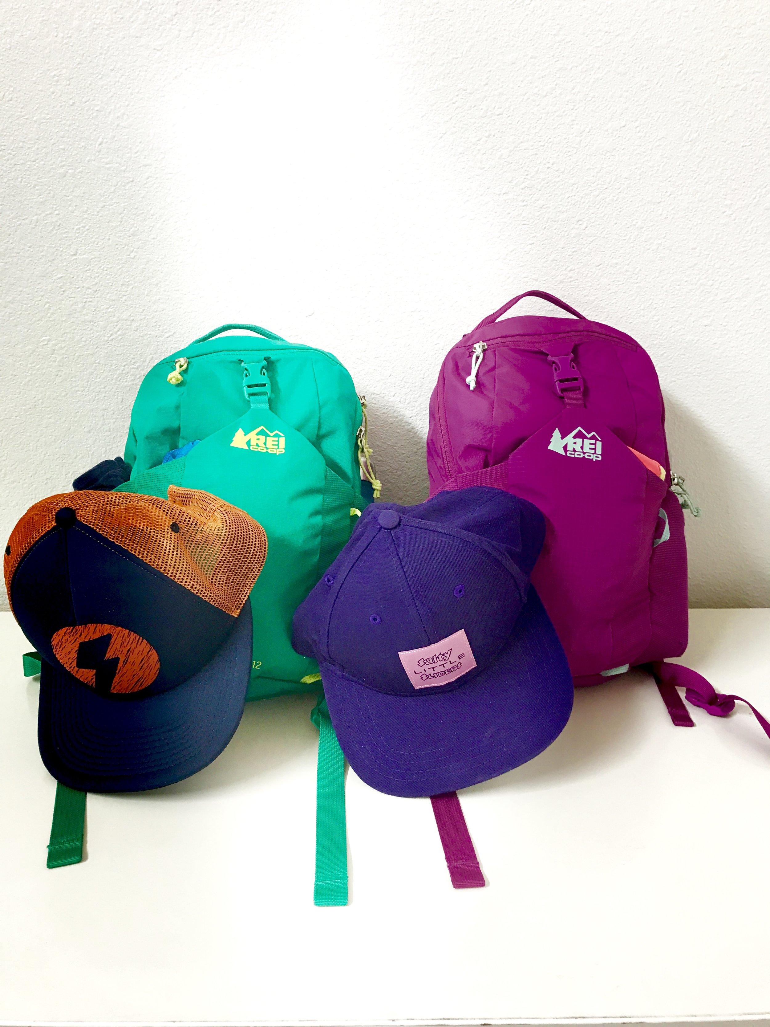 REI Tarn12 backpacks and Salty LIttle Sliders Hat