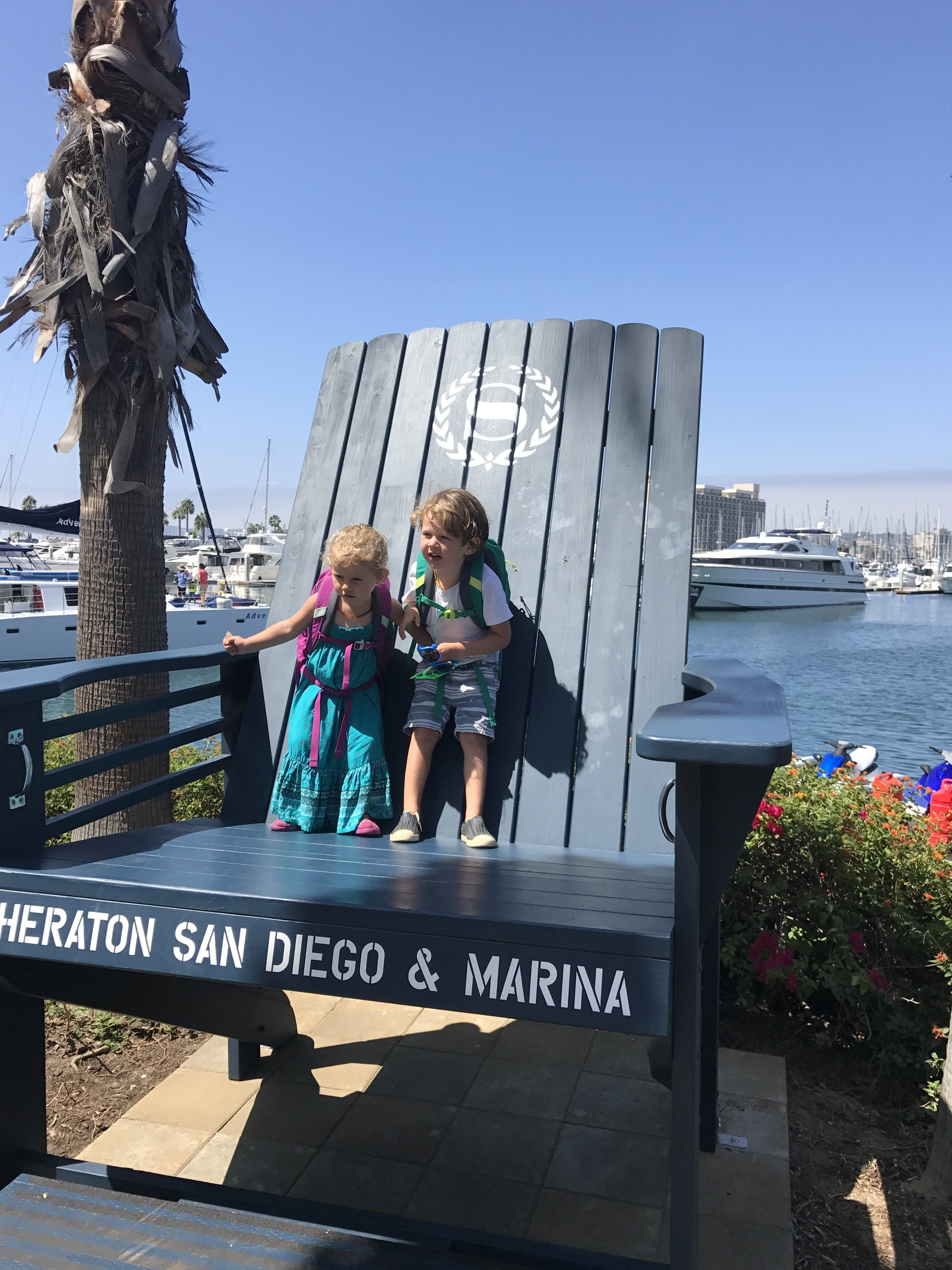 San Diego Bay and thier REI Tarn12 backpacks