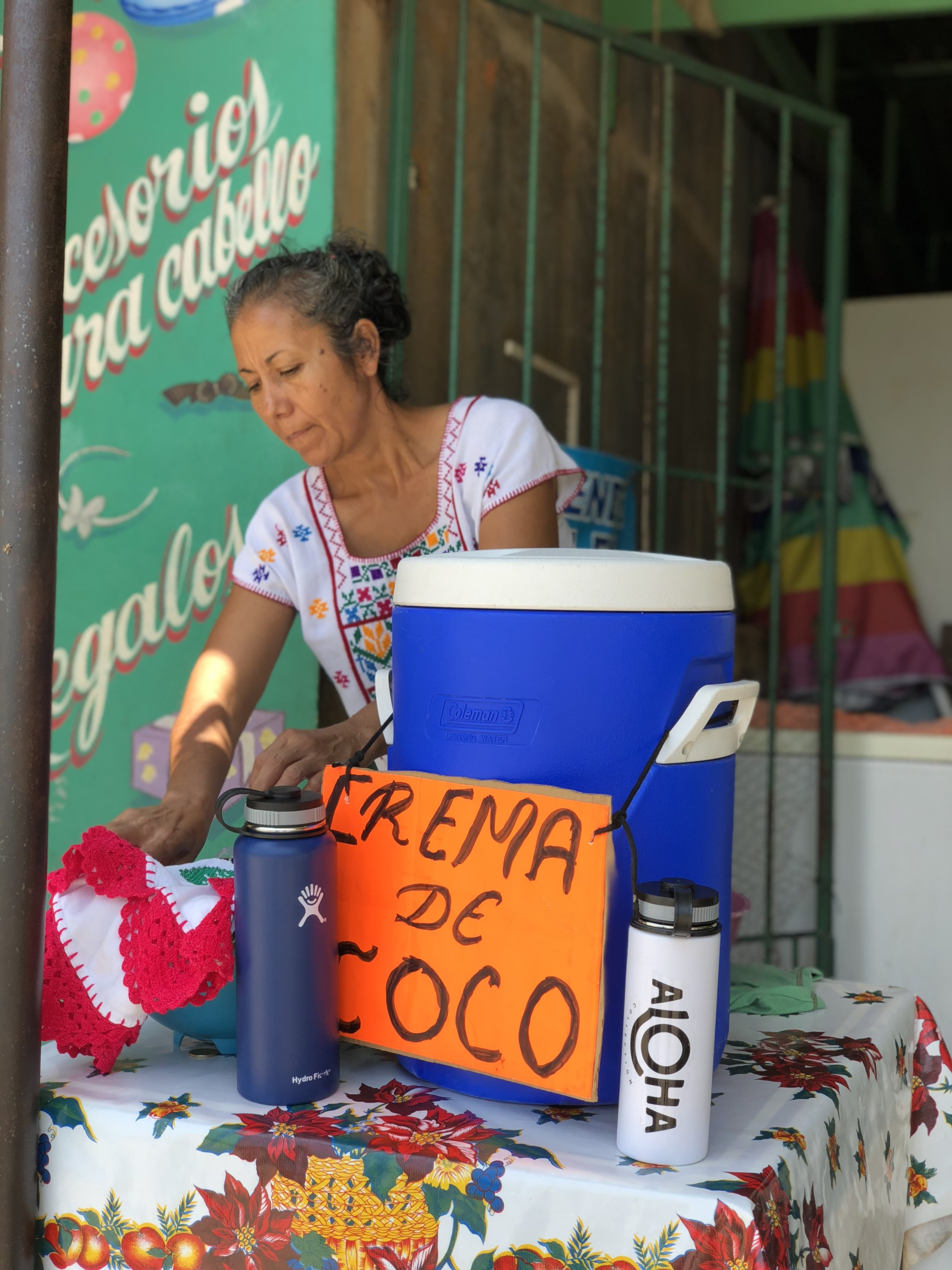 Ninfa has been selling her homemade Coconut Cream here for years. Traditionally people drink it out of a plastic baggie that is tied at the top for transport home. We dedicated 2 of our  hydroflask  waterbottles to house the cream and avoid the plastic all together.
