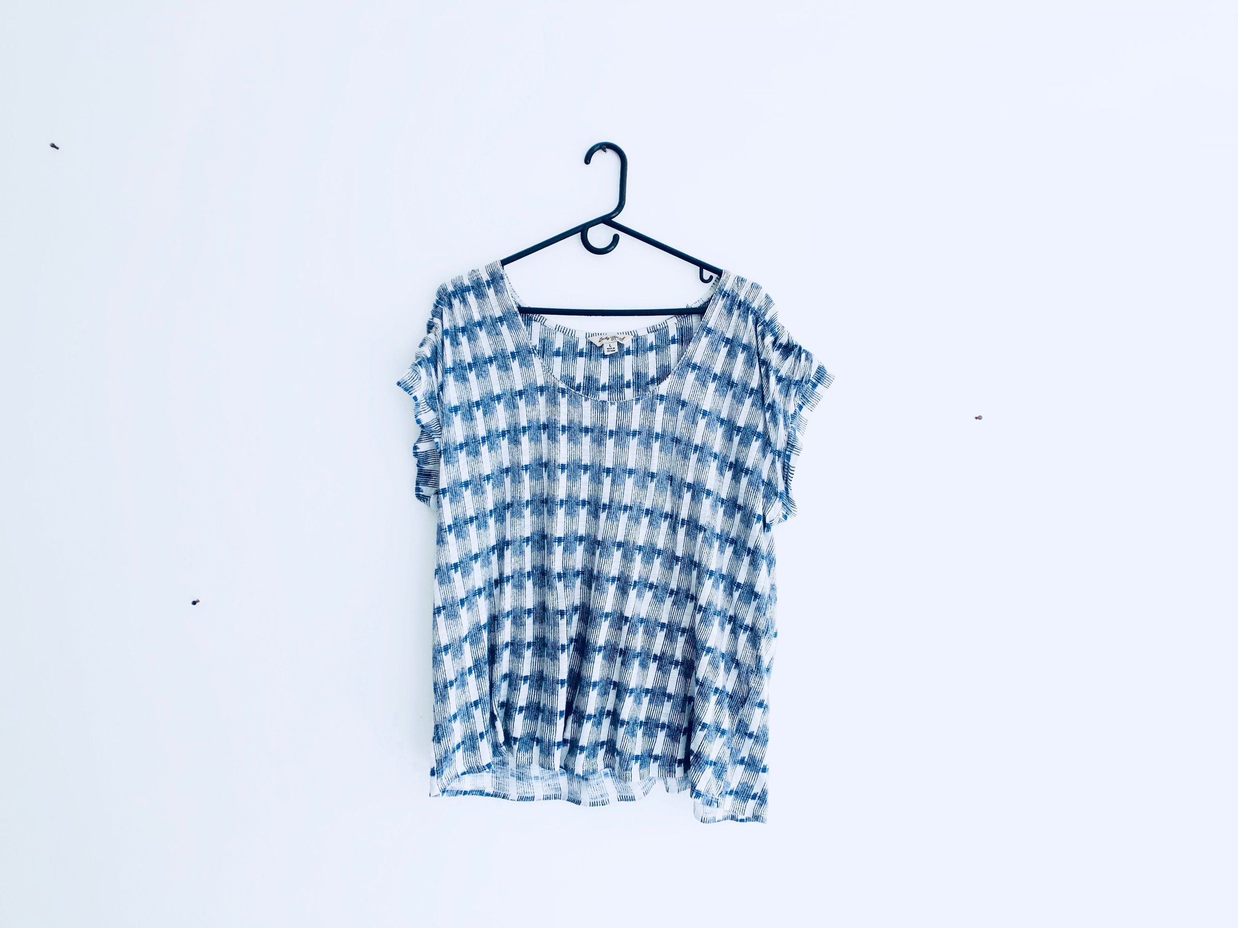 Navy, White, and Blue Pattern Tee