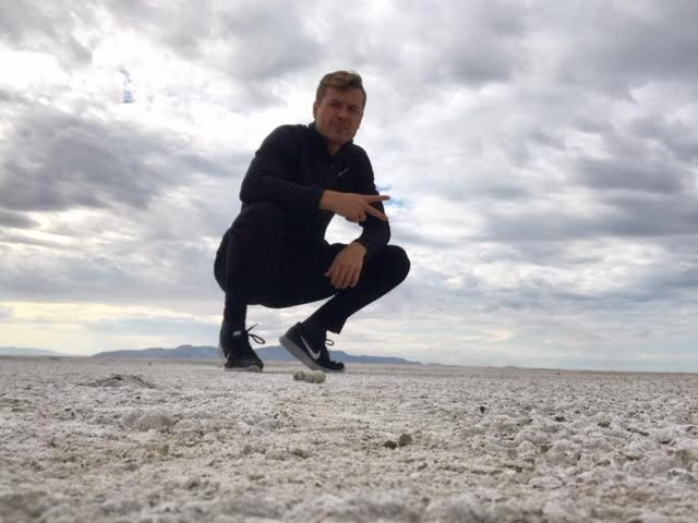 Taking a reflective walk recently on the great salt lake in Utah.