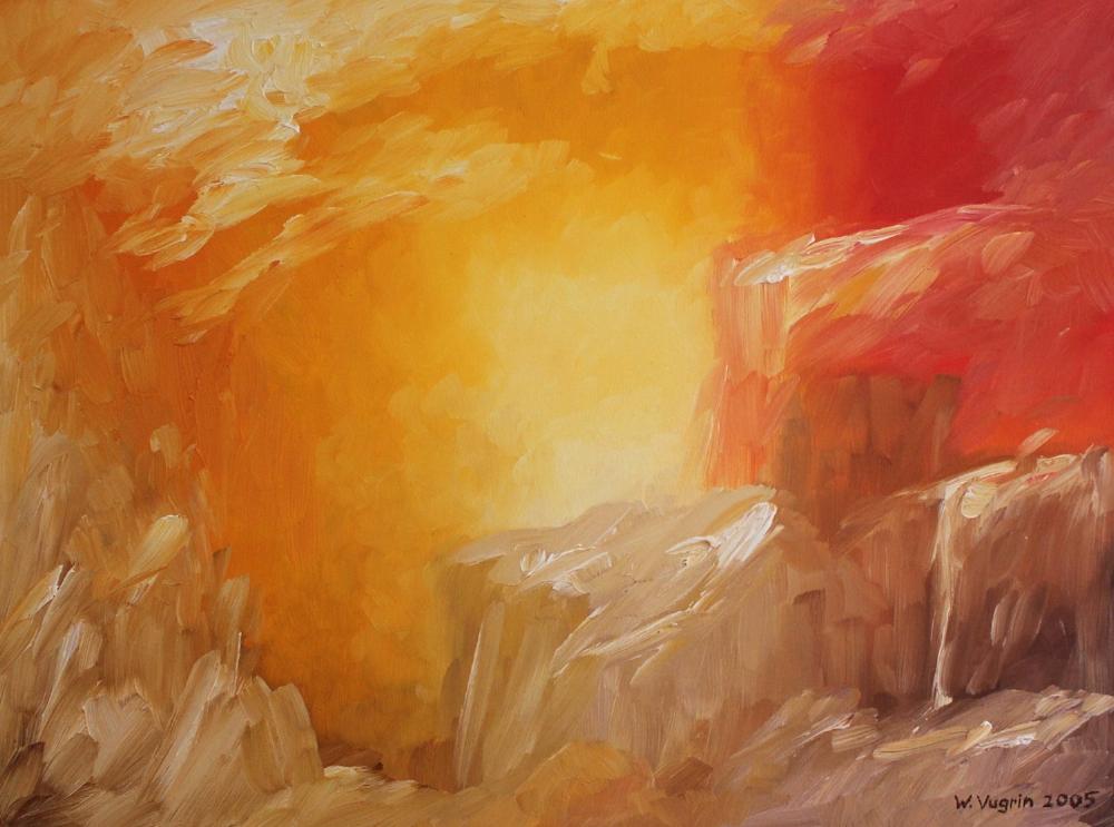 """Walter Vugrin 2005, """"Sommerhitze"""", Ölgemälde, 120 cm x 90 cm"""