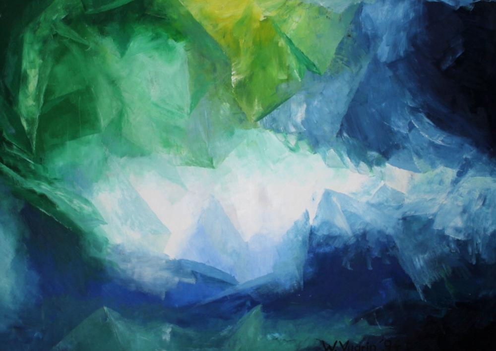 "Walter Vugrin 1994, ""Kristalle"", Ölgemälde, 120 cm x 90 cm"
