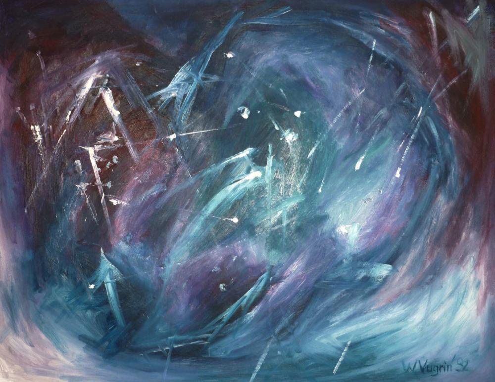 "Walter Vugrin 1992, ""Weltall"", Ölgemälde, 120 cm x 90 c"