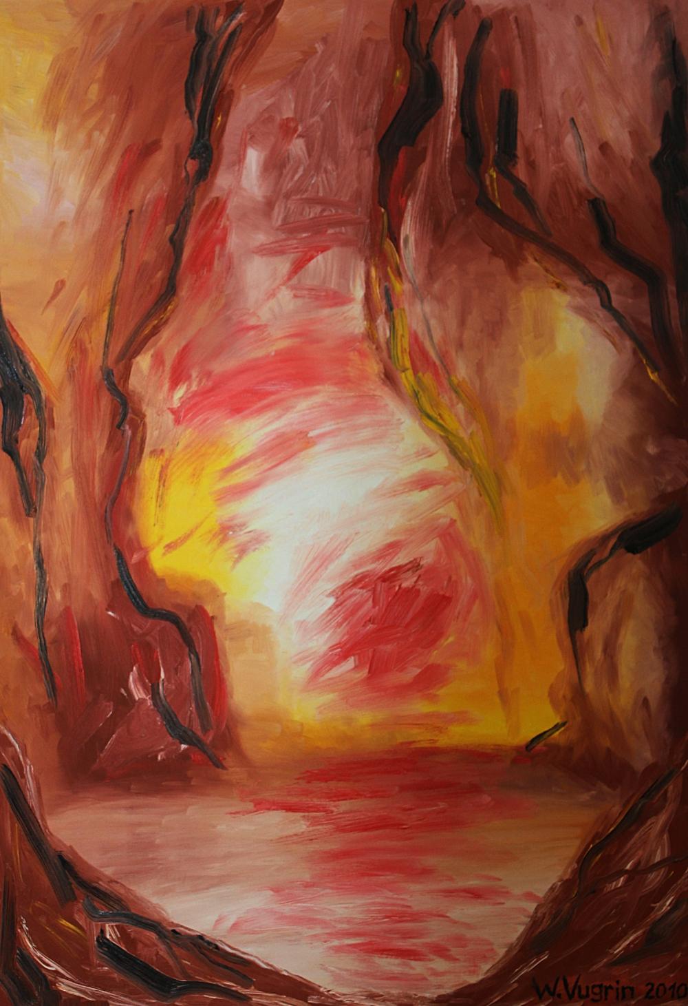 "Walter Vugrin 2009, ""Grotte"", Ölgemälde, 90 cm x 120 cm"