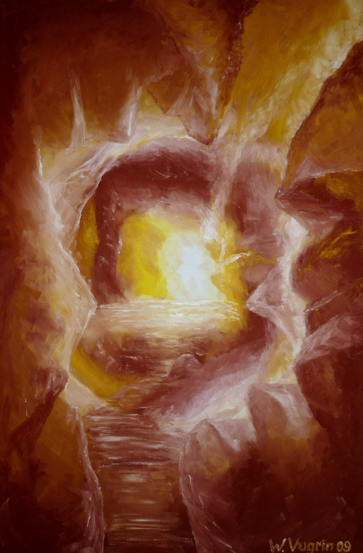 "Walter Vugrin 2009, ""Höhlenquelle"", Ölgemälde, 100 cm x 150 cm"