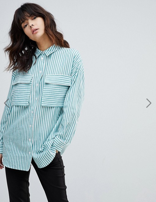 ASOS- Oversized Utility Shirt in Green Stripe